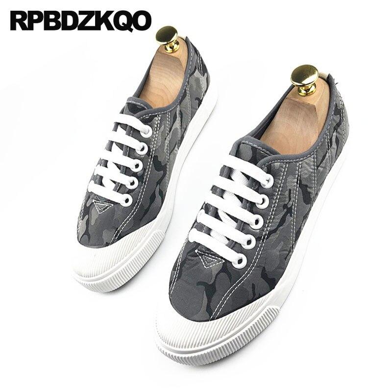 2018 Mode Camouflage Sneakers Chine Noir gris Respirante Confort Appartements Lacets Caoutchouc Formateurs À Toile Chaussures Décontracté Skate De Design Hommes clJFTK1