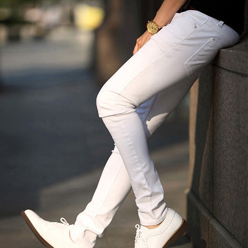 Men's Gentlemen Casual Pure Handsome Youth Slim Fit Trousers Feet  Zip FrontPants White Black TC21