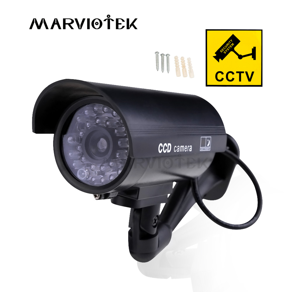 Waterproof Dummy Camera Fake Camera Bullet Outdoor Home Security CCTV Cameras Video Surveillance Indoor With Flashing Red LED