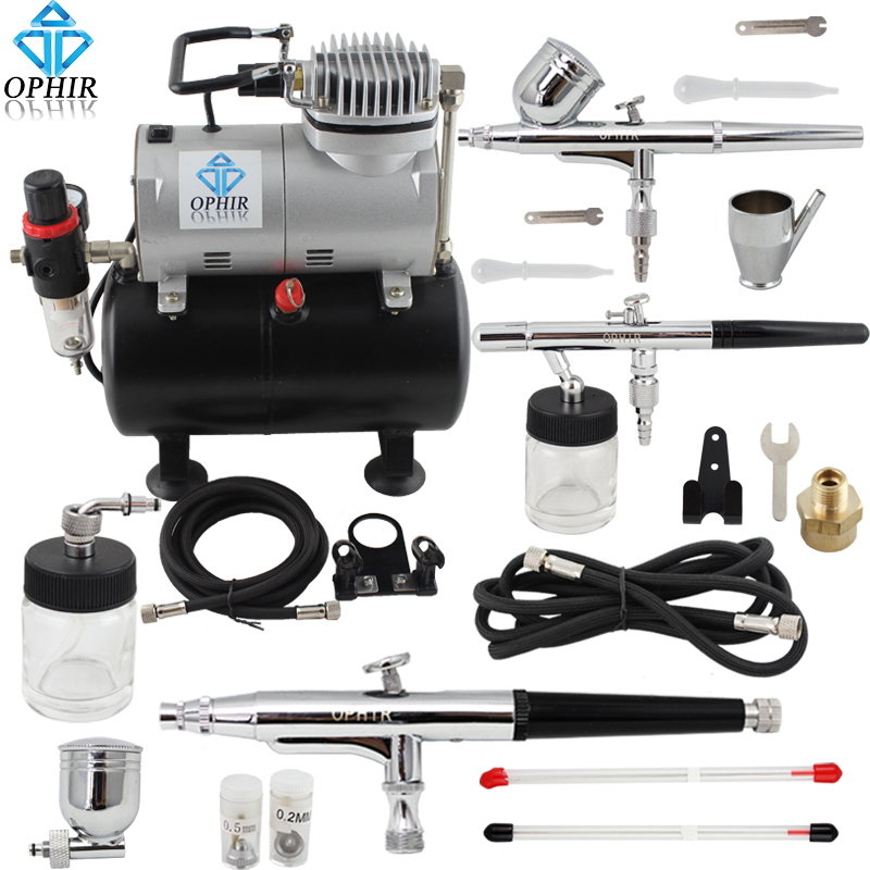 OPHIR Pro 3 Dual Action Airbrush Set with Air Tank Compressor for Model Hobby Temporary Tattoo Body Painting _AC090+004A+072+074 ophir professional dual action airbrush compressor kit with air tank for cake decorating model hobby tattoo  ac053 ac004 ac070
