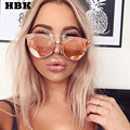 HBK Flat Mirror Lens Celebrity Wear Men Women Classic Sunglasses Cat Eye Small UV400 Male Pink Female Sun Glasses Oculos de Sol