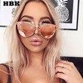 Hbk espejo plano lente celebrity desgaste hombres mujeres gafas de sol clásicas cat ojo Pequeño UV400 Masculino Femenino de Rosa Gafas de Sol gafas de Sol
