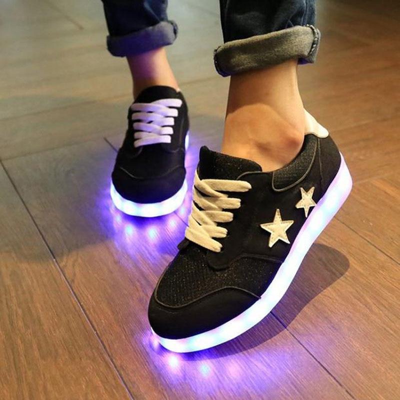 ФОТО Led Shoes Glowing 7 Colors Men Fashion Luminous Led Light UP Shoes for Adults Basket LED Shoes9c03