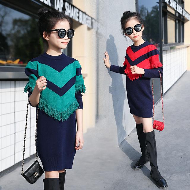 Borlas de tejer suéter de las muchachas de primavera otoño invierno de los niños ocasional ropa de la escuela de muy buen gusto de punto suéteres de los niños vestidos de las muchachas