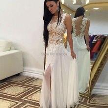 Weiß chiffon-eine line sexy prom kleider mit spitze appliques 2017 Side Split Sheer Zurück Abendgesellschaft Lange Kleider vestidos longo