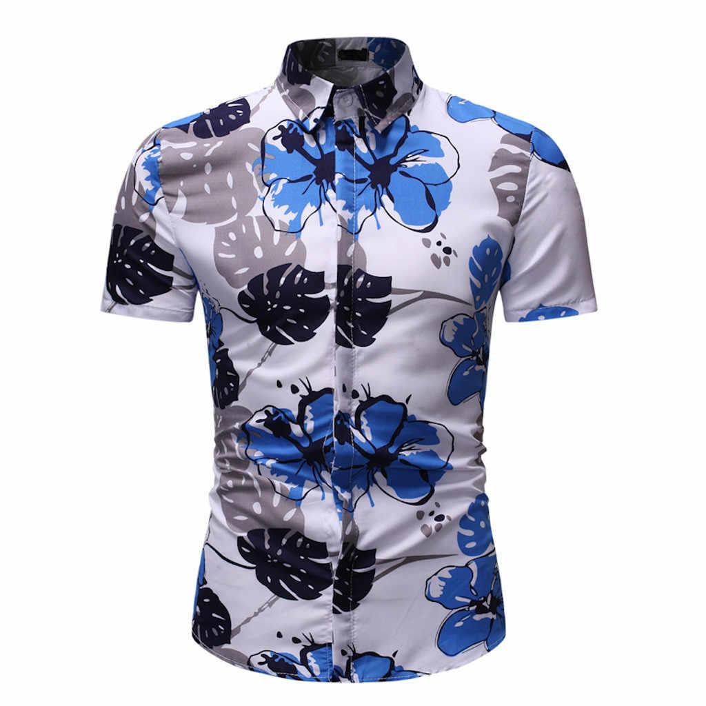 Cá Tính Nam Áo Sơ Mi Họa Tiết Hoa Mùa Hè Cổ Ngắn Nữ Tay Top Áo Nam Camisas De Hombre 2019 Mới Hawaii áo Sơ Mi