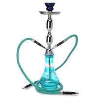 1 PZ Nuovo Vaso di Vetro Media Narghilè Herb Tabacco Da Fumo Acqua tubo di Shisha 2 Tubo Fiori Blu Set Completo Regali Narghilè Shisha