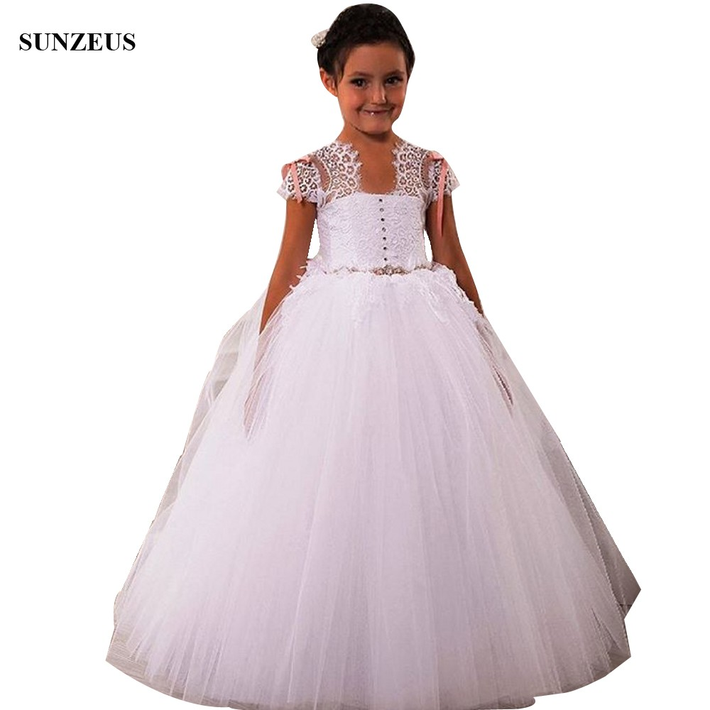 Ball Gown Lace Cap Sleeve   Flower     Girl     Dresses   Long Puffy Tulle Wedding Party Gowns For   Girls   robe fille FLG103