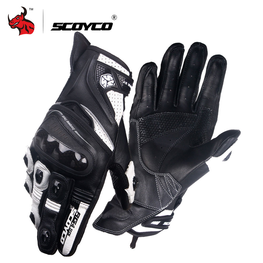 SCOYCO Motorcycle Gloves Microfiber Leather Moto Gloves Men Motocross Full Finger Racing Guantes Protective Gear Luva Moto