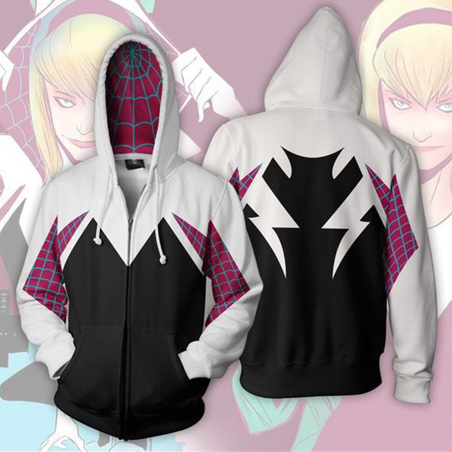 Movie Gwen Stacy Spider Gwen Sweatshirt Hoodie Cosplay Costume Anime Hoodie Jacket Coats Men Women New