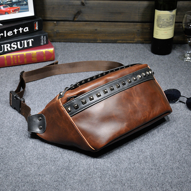 Men's Vintage PU Leather Waist Pack Rivets Fashion Chest  Bag Crossbody Messenger Qaulity Bags Rock Style