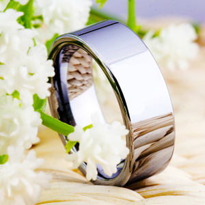 Image 5 - Hot sprzedaży 8MM szerokość klasyczna obrączka obrączki srebrne rury darmowe grawerowanie wolframu pierścienie węglikowe dla kobiet męska pierścień