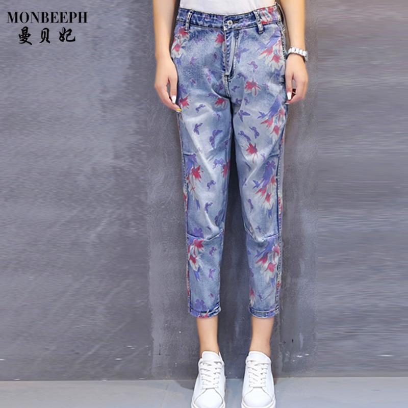 9/10 JEANS Women's capris Printed Slim High Waist Ladies Straight Denim Pants Student Street Pants ankle length jeans trousers