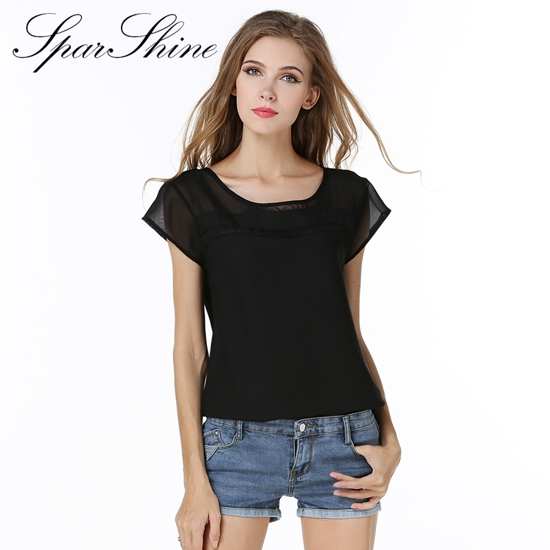 Plus Size Women New Tops White Lace Chiffon Blouse Shirt Sexy Black Short Sleeve Summer Korean Office Female Clothing