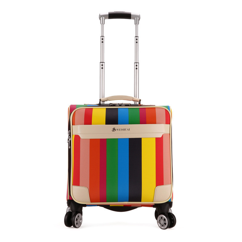 New Arrival!16inches pu leather trolley luggage on universal wheels for female,colorful strip bag for girl