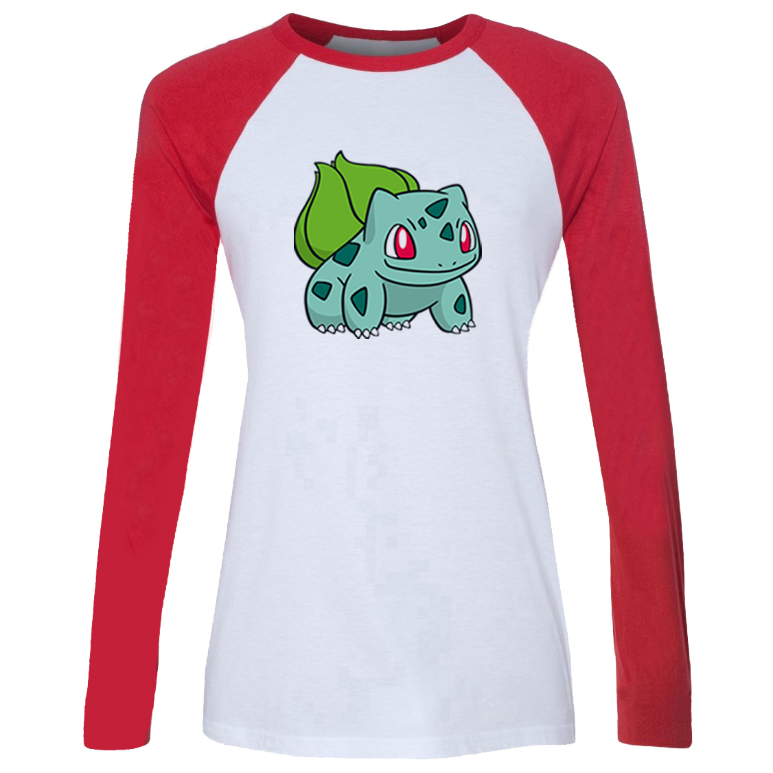 iDzn Women's Casual T-shirt Pokemon Grass Poison Type Bulbasaur Ivysaur Venusaur Pattern Long Sleeve Girls T shirt Lady Tee Tops image
