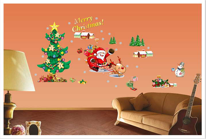 Diy christmas glass wall sticker holiday new year for Christmas wall mural