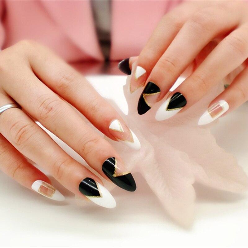 12 Designs False Nails With Glue Long French Nail Art Tips Acrylic ...