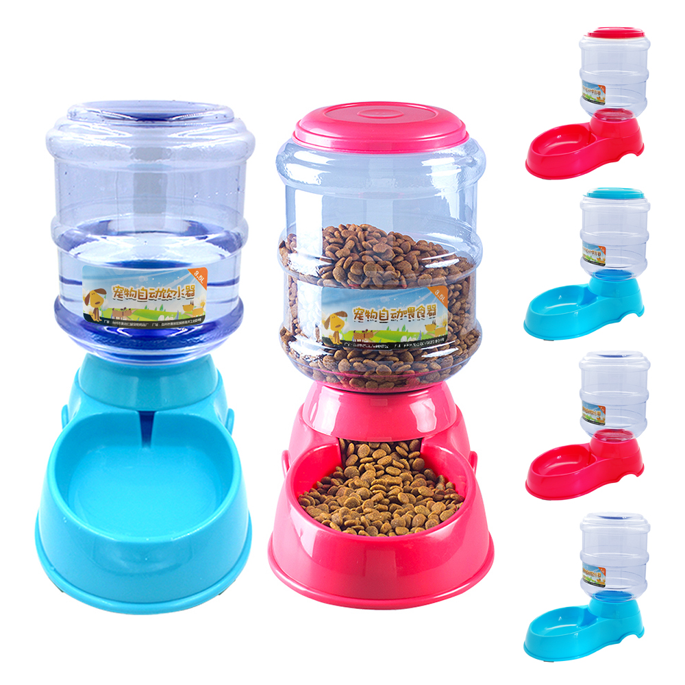 3 5L Automatic font b Pet b font Feeder Drinking Fountain Dog Food Bowl Dish Water
