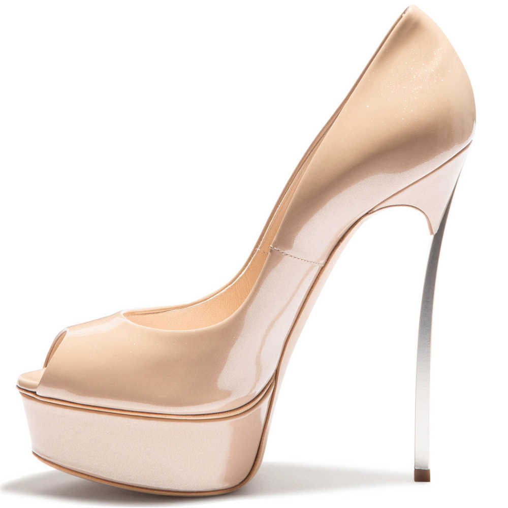 71c2878ce0 Classic Nude Peep Toe Mental Shoes Woman Thin High Heels Platform Pumps  Dress Women Party Evening Zapatos Mujer Tacon