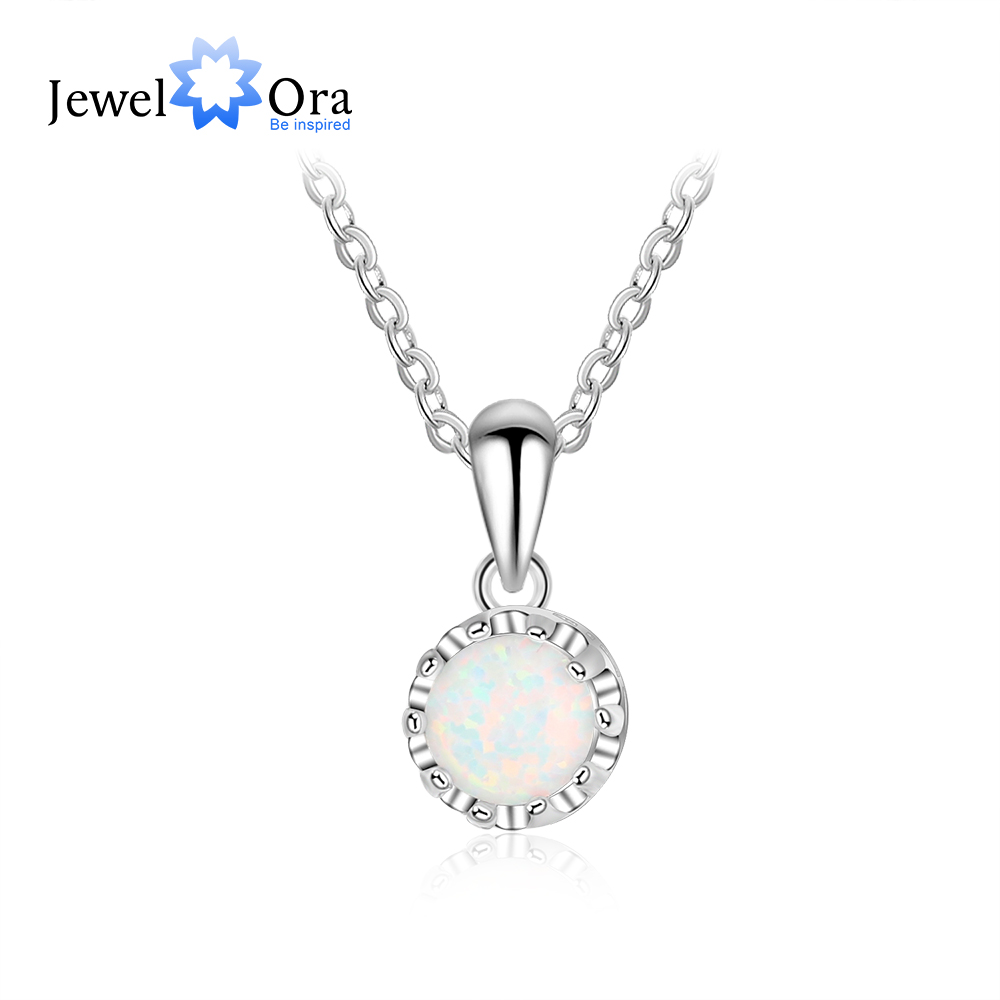 Elegant 925 Sterling Silver White Opal Necklace for Women Classic Flower Pendant Jewelry Fine Gift for Girls (JewelOra NE103188)