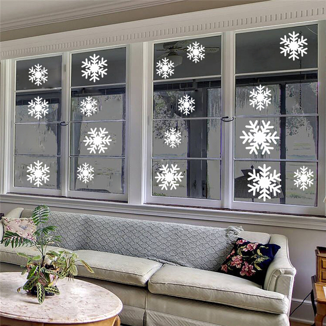 Us 1 17 20 Off Romantic Snowflake Wall Stickers For Christmas Day Living Room Kids Room Home Decoration Removable Art Decals Vinyl Git In Wall