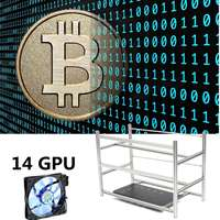 Stackable Open Air Mining Rig Frame Miner Case 10 LED Fans For 14 GPU ETC BTH