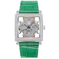 Квадратный вращающиеся часы женский полный алмазов английский часы женщина платье часы лучший бренд роскошных леди часы Водонепроницаемы