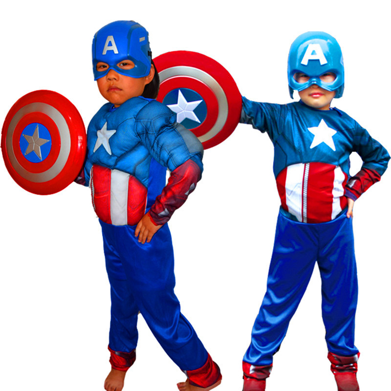 все цены на kids Halloween superhero onesies Costumes Captain America Captain Muscle of The United States Without Muscle Clothing Sets онлайн
