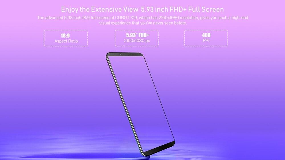 """Cubot X19 смартфон Helio P23 Восьмиядерный 5,9"""" 2160*1080 FHD+ дисплей 4000 мАч 4 Гб+ 64 Гб Face ID type-C сумеречный градиент цвета Телефон"""