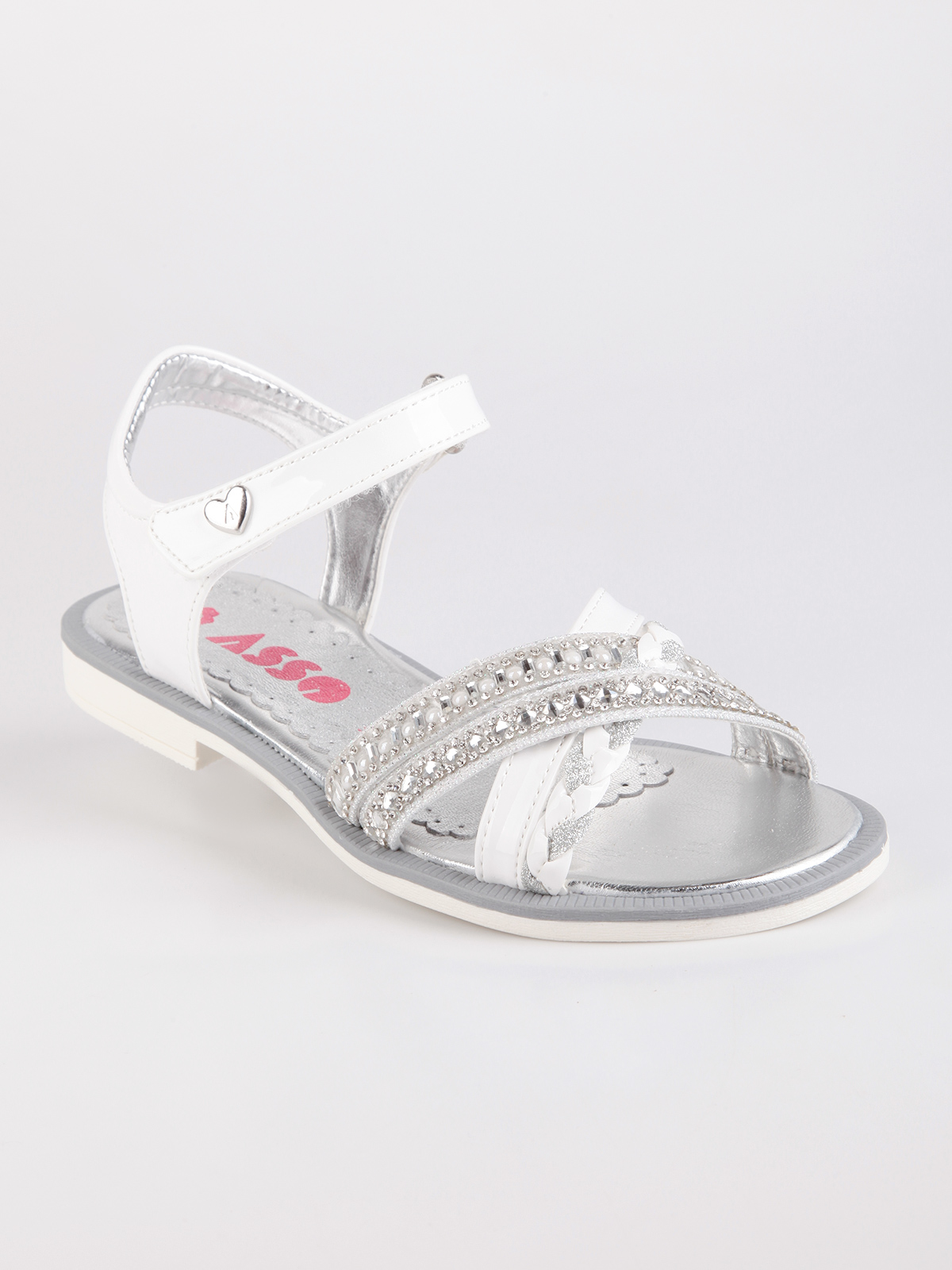 ACE white sandals with rhinestone|  - title=