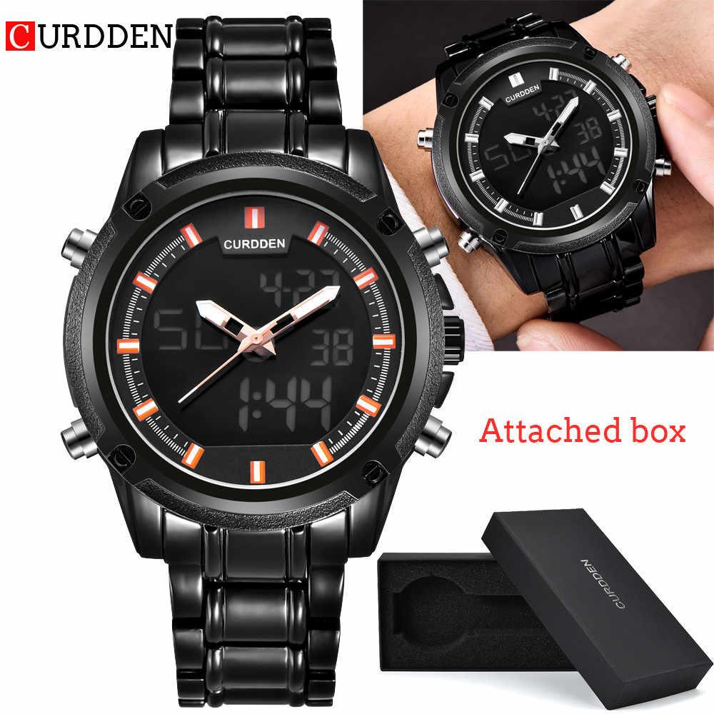 Nowy mężczyzna zegarki wskaźnik LED podwójny wyświetlacz zegarek luksusowy zegarek ze stali nierdzewnej data analogowy zegarki cyfrowe męska kwarcowy zegarek 2019 nowy