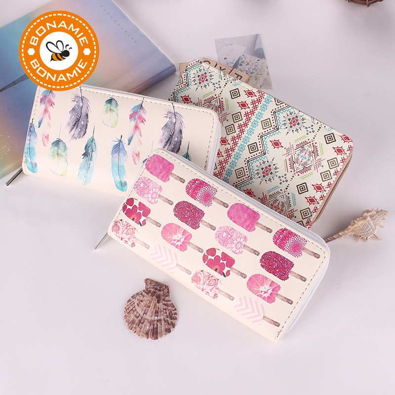 BONAMIE 2018 New High Quality Modern Women Leather Clutch Long Wallet Brand Printing Fruit Feather Carton