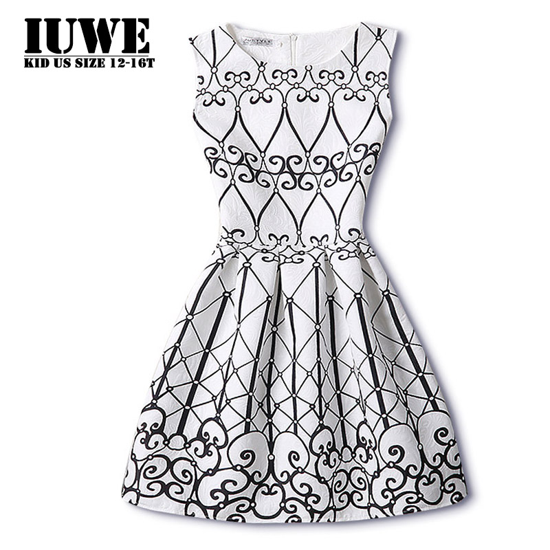 Kids Dresses for Girls Casual White Sleeveless Black Pattern Big Size School School Girls Sundress Teenagers Child Dress 12 kids dresses for girls 2017 girls dresses in black and white floral print dress bow sleeveless tutu teenagers girls clothing 12