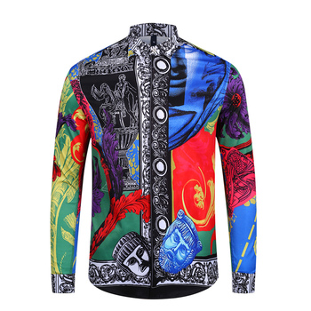2019 New Mens Shirt Hawaiian Suit Men Summer Casual Slim Fit Long Sleeved Luxury Print Shirt Men Shirts For Man Free Shipping selected men s 100% cotton slim fit embroidered long sleeved shirt s 419305564