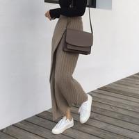 Qooth Autumn Winter Knitting Skirt High Waist OL Long Pencil Skirt Women Open Slit Knitted Casual Vintage Maxi Skirt QH1699