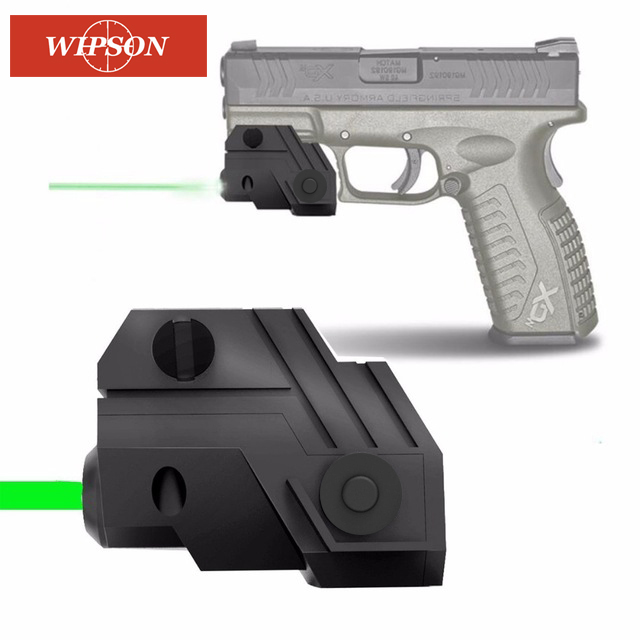 WIPSON Mini Sub Compact Tactical Rail Mount Low Profile Red Green Dot Laser Sight with Build-in Rechargeable Battery for Pistol hunting compact tactical green laser sight flashlight combo low profile pistol handgun light with 20mm picatinny rail