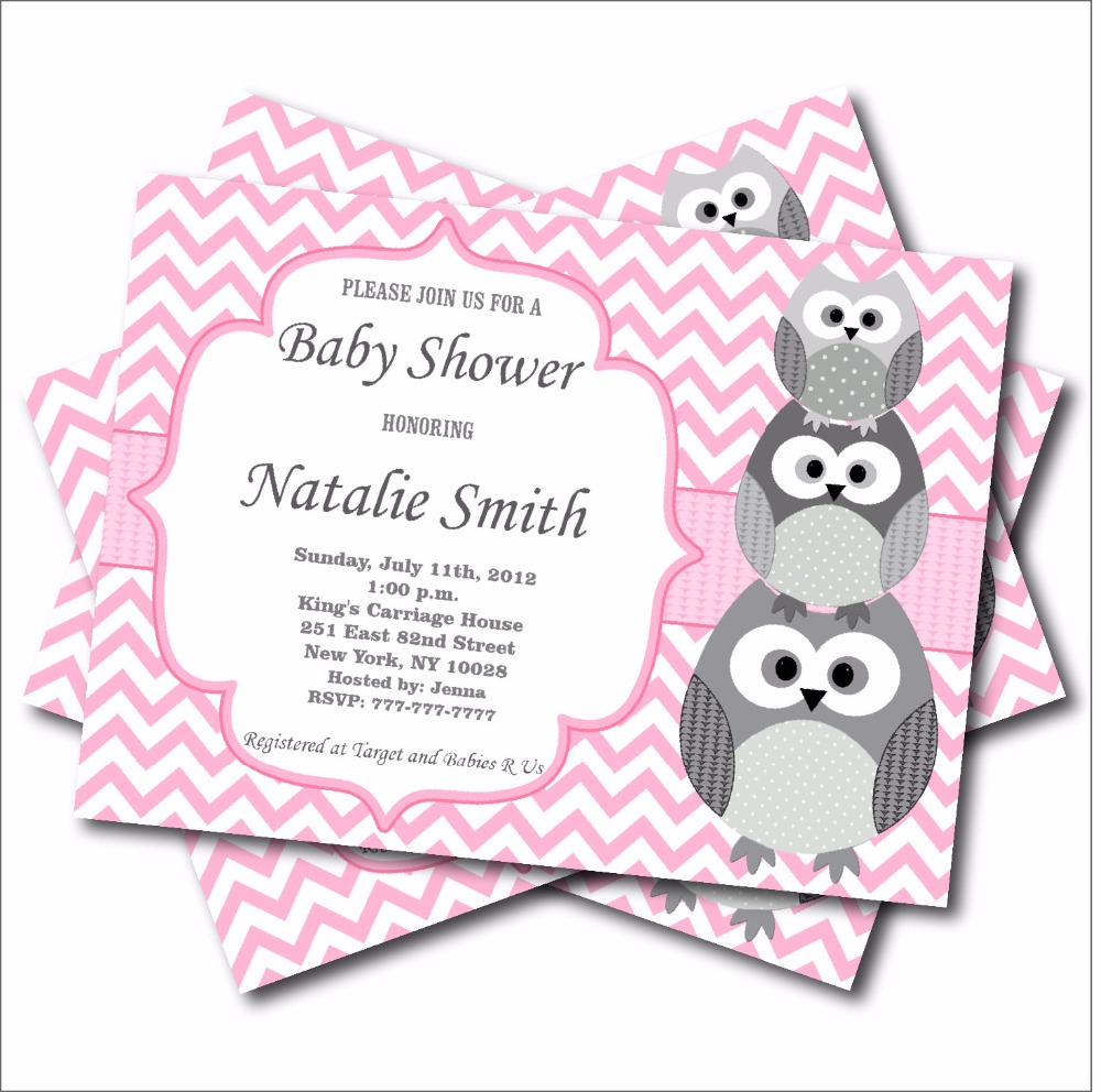 20 pcslot Personalized Pink Owl Baby Shower Invitation Birthday