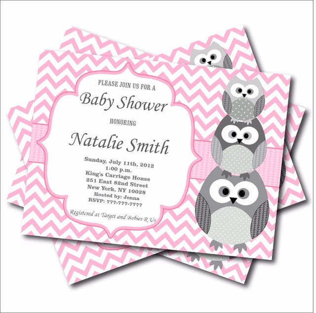 20 pcs/lot Personalized Pink Owl Baby Shower Invitation Birthday - baby girl invitation