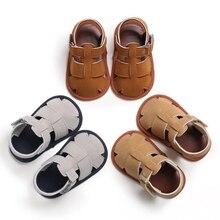 Новые летние дышащие Нескользящие ажурные Тканые Сандалии для маленьких мальчиков, детские сандалии с мягкой подошвой для первых шагов