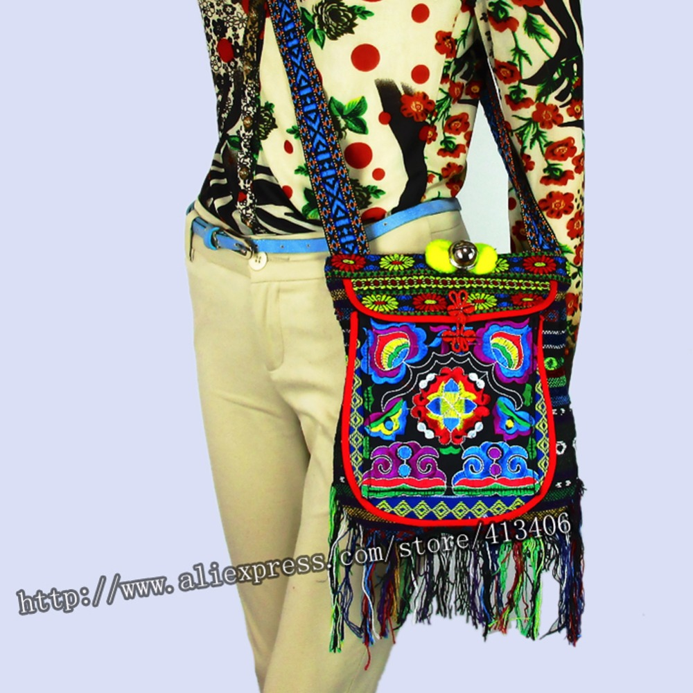 Vintage Hmong Tribal Ethnic Thai Indian Boho shoulder bag message bag for women linen handmade embroidery Tapestry SYS-005C vintage handmade hmong tribal ethnic thai indian boho linen embroidery women s shoulder crossbody bag handbag sac a dos femme