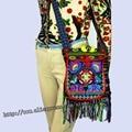 Vintage Hmong Tribal Ethnic Thai Indian Boho shoulder bag message bag linen handmade embroidery Tapestry SYS-005C