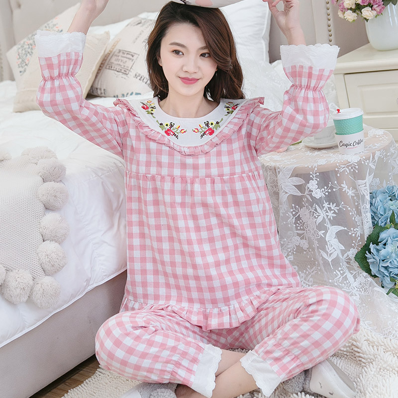 Maternity Nightwear Nursing Pajamas Cotton Yarn Embroidery Maternity Pajamas Plaid Printing Breastfeeding Pregnancy Pajamas A019