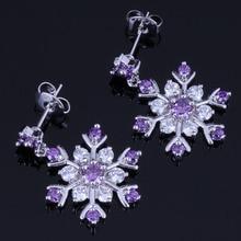 Amazing Snowflake Purple Cubic Zirconia White CZ 925 Sterling Silver Drop Dangle Earrings For Women V1026
