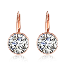 14K Rose Gold Diamond Earrings for Women 925 Sterling Silver Geometric Fine Jewelry kolczyki Females Brincos Orecchini Bizuteria