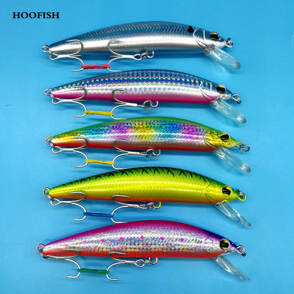 HOOFISH 1pcs/lot minnow lure fishing lure 42g/120mm 5colors Artificial bait  Treble Hook fishing bait