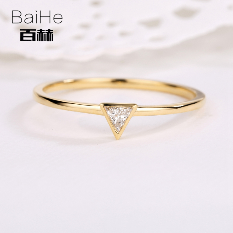BAIHE Solid 14K Yellow Gold 0.05CT Certified H/SI Triangle Genuine Natural Diamonds Engagement Women Trendy Fine Jewelry Ring   BAIHE Solid 14K Yellow Gold 0.05CT Certified H/SI Triangle Genuine Natural Diamonds Engagement Women Trendy Fine Jewelry Ring