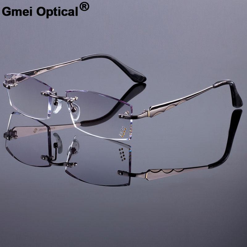 ea559cc5c4 Fashionable Men Style Frame Women Titanium Alloy Optical Frame Diamond  Trimming Cut Rimless Spectacles With Gradient