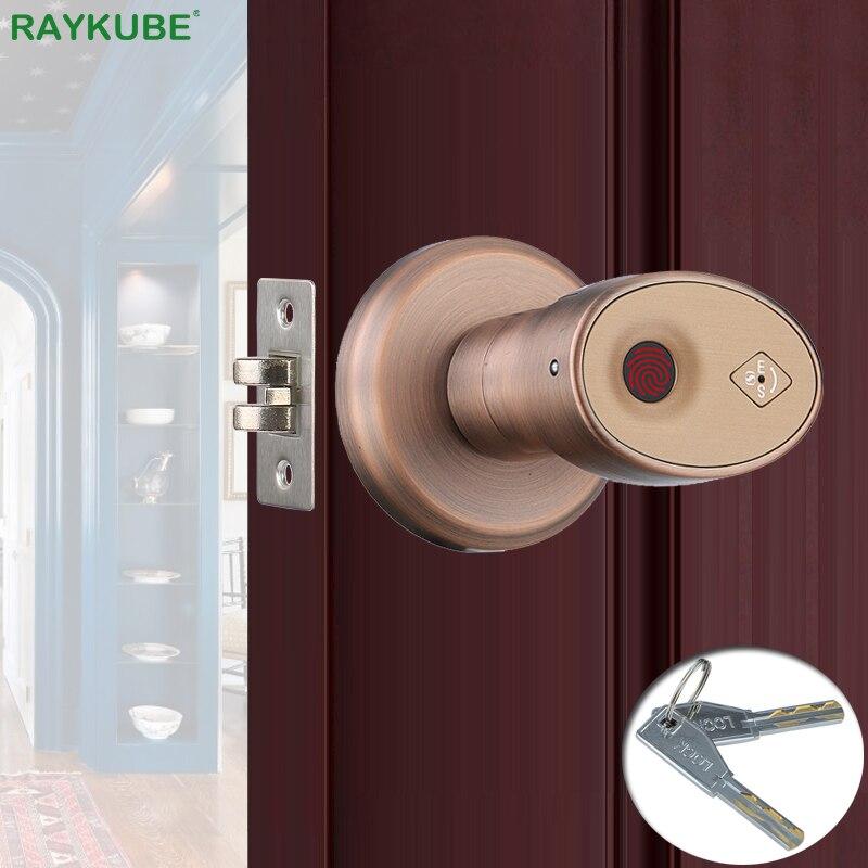 RAYKUBE Biometric Fingerprint Door Lock Knob Smart Keyless Deadbolt Lock Home Office Door Keyed Lock Zinc