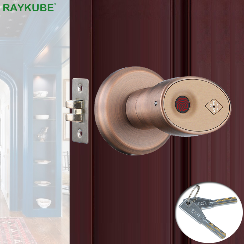 RAYKUBE Biometric Fingerprint Door Lock Knob Smart Keyless Deadbolt Lock Home Office Door Keyed Lock Zinc Alloy R-S178